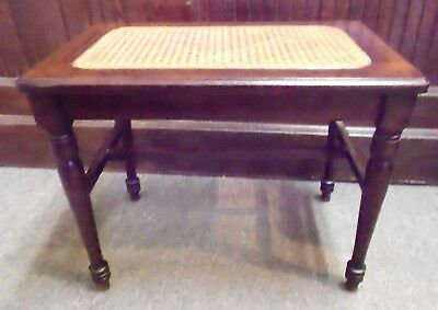 Wooden Piano Bench Stool With Cane Insert & Turned Legs