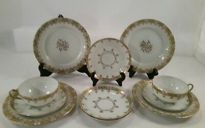 11 Hand Painted Nippon Gold Gilt Beaded Moriage Floral Plates & More