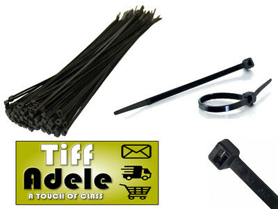 50 x Cable Ties Tie Wraps Nylon Zip Ties Strong Extra Long Black FREE POST