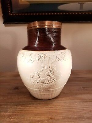 Rarely seen superbly sprigged 1790s John Turner Georgian classical stoneware jug