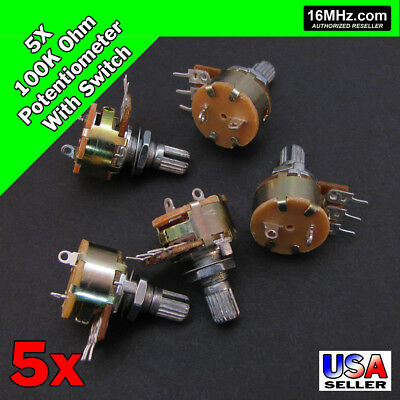 5x 100K OHM Linear Taper Rotary Potentiometer B100K w/On Off Switch US 5pcs U50