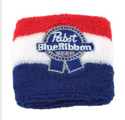 Pabst Blue Ribbon Beer Pbr Classic Red White & Blue Embroidered Wristband New!