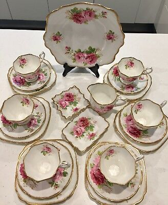 22 piece American Beauty Royal Doulton Tea Set in perfect condition