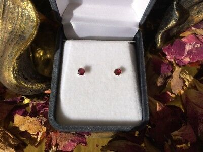 Awesome natural Rhodalite Garnet 3mm sterling silver claw stud earrings 🍇