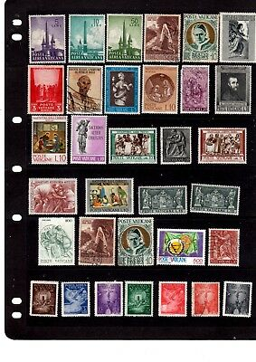 Page Of 33 Vatican Postage Stamps - Mint And Used.