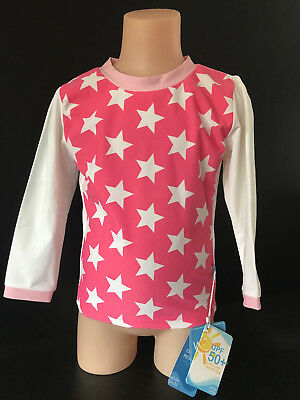 BNWT Girls Size 0 White Soda Brand Pink/White Long Sleeve Rash Vest UPF 50+