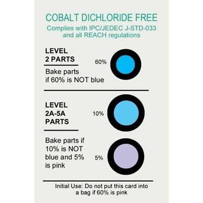 Desco 13859 Humidity Indicator Cards - HIC, 5%, 10%, 60%, Cobalt Dichloride Free