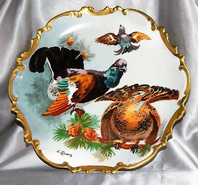 "~ LIMOGES GAME BIRD PLATE c1900 CORONET FRANCE Hand Painted SIGNED 10"" ~"
