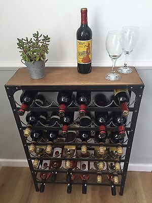 Wine Rack artisan urban vintage Pewter colour finish, holds 36 bottles