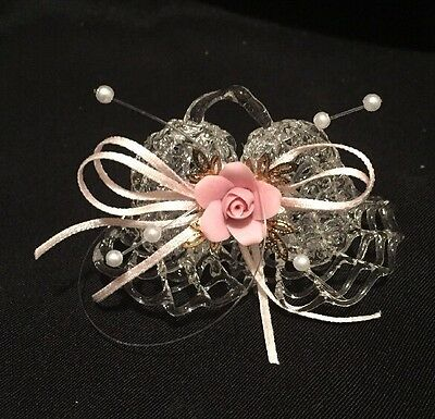 """Delicate Blown Glass Bells, Pink Porcelain Bow and beads, 2.5"""" wide 1.75"""" high"""