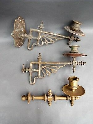 3 vintage ornate brass wall piano candle sconces - for parts or restoration