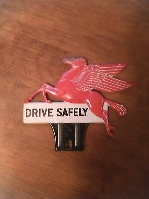 Vintage Mobil Drive Safely License Plate Topper Pegasus! Neat Gas Oil Sign