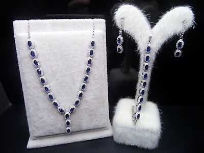 925 Sterling Silver Handmade Jewelry Blue Sapphire  Ladie's Set