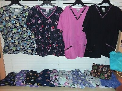 womens scrubs lot size 3X owls ~ hello kitty ~ huge mixed lot of 15 ~ lot #1