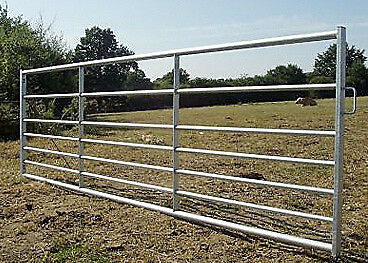 Galvanised 7 Bar Metal Field Gate & D-Loop Fastening: sizes 3-16ft (915-4880mm)