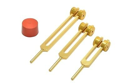 NEW GOLD Otto Tuners Tuning forks 32,64 &128 Hz for Sound Healing Relaxation PRO