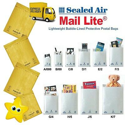 Mail Lite Bubble Padded Lites Bags Envelopes Post Mailer All Sizes White / Gold