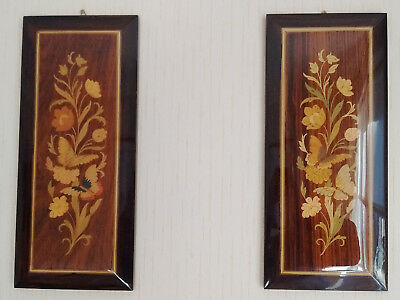 """PAIR of Italian Marquetry Plaques, 14"""" x 6.5"""", Flora & Butterflies."""
