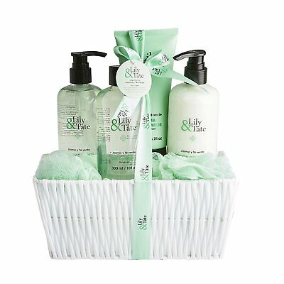 Lily & Tate Womens Luxury Pamper Bath 7 Piece Gift Set - Jasmine And Green Tea