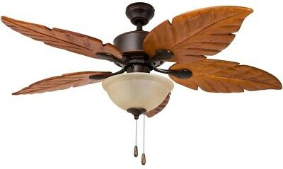 Harbor Breeze Ceiling Fan 5 Palm Leaf Blades Oil Rubbed Bronze Outdoor Light Kit