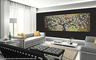 """large 59"""" x 20"""" green tree of life landscape panoramic painting print canvas"""