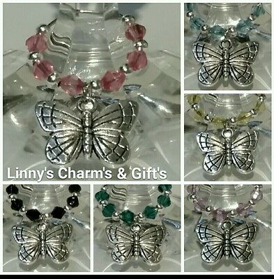 Silver Butterfly Wine Glass Charms x 6 / Stem Jewelry All Occasion Gift