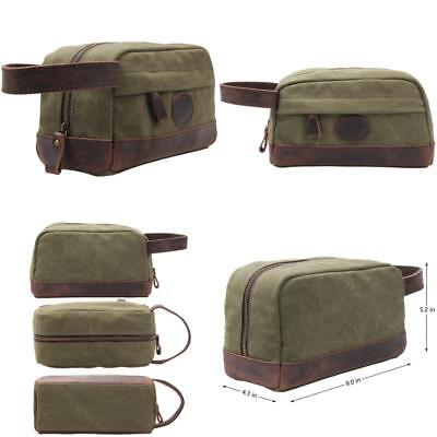 My Style Garment Msg Vintage Leather Canvas Travel Toiletry Bag Shaving  Dopp Kit 727eb046645e7