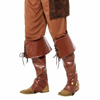 Adult Mens Deluxe Pirate Captain Bootcovers Shoe Caribbean Fancy Dress Accessory
