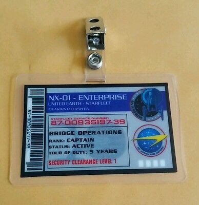 Star Trek Enterprise ID Badge-NX 01 Enterprise Captain Bridge Op costume cosplay