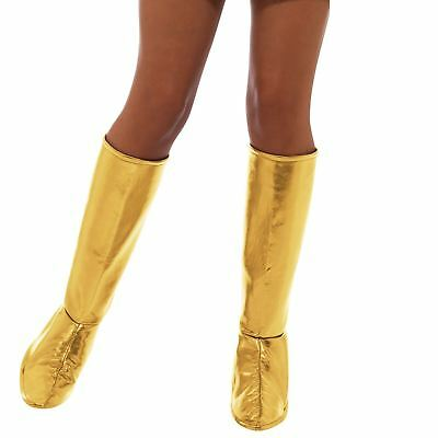 Adult Ladies 70s Gold GoGo Dancer Show Boot Covers Shoe Fancy Dress Accessory