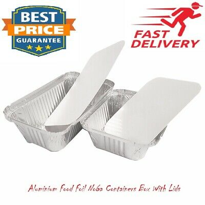 100 x ALUMINIUM FOIL FOOD CONTAINERS + LIDS NO6a BEST FOR HOME AND TAKEAWAY USE