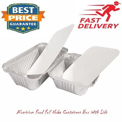 100x ALUMINIUM FOOD FOIL CONTAINERS + LIDS NO6a BEST HOME TAKEAWAY CATERING USE