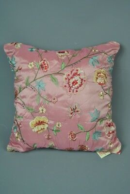 Beautiful Quality Pink Floral Embroidered Beaded Scatter Cushion Blue Green Yell