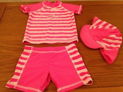 Girls Splash UV protection 2 piece Swimming suit with matching hat, 12-18 months