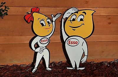 """Old Style 24"""" Esso Motor Oil Oil Drop Girl Boy Set Thick Steel Sign Made In Usa!"""