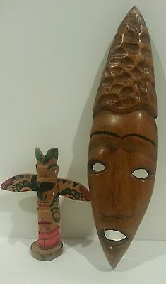 Lot of 2 VINTAGE HAND CARVED AFRICAN WOOD WALL MASK Art