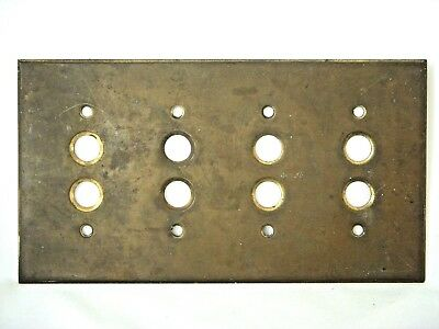 Antique 1899 Brass 4 Gang Push Button Electrical Light Switch Plate Cover Rare