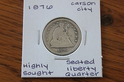 1876-Cc  Highly Sought  Seated Liberty Quarter
