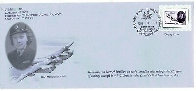 2009 Colborne, Ont. Vi Milstead WW2 Pilot Picture Postage Stamp Homemade FDC
