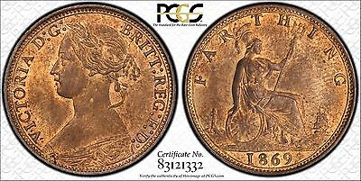 1869 Great Britain Farthing (1/4d) PCGS MS64RB Red Brown