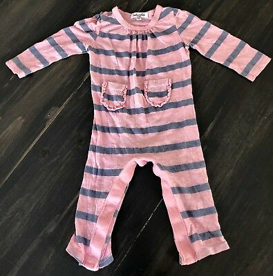 Spendid, pink striped one piece play suit, 6-12 months, girl baby, snaps