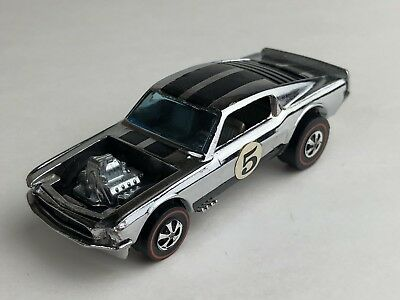 Hot Wheels Redline 1969 Ford Mustang Silver Chrome Boss Hoss Vintage