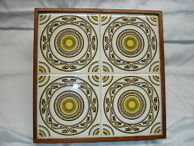 Vintage MEXICAN 4 TILE YELLOW  & BROWN ~ WOOD FRAME TRIVET TRAY MEXICO