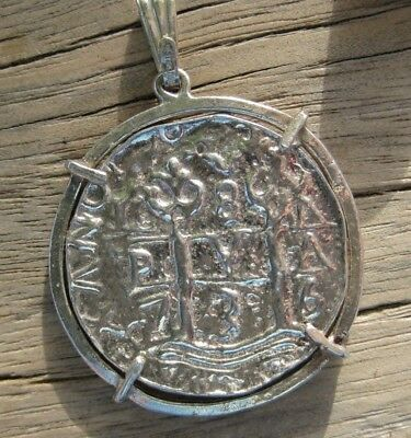 Sterling SILVER Spanish COBB Coin Piece of Eight Replica Coin Pendant 13.2 grams