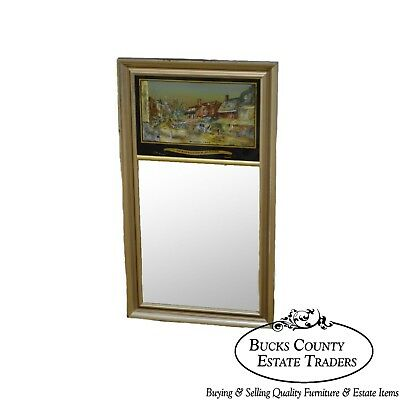Federal Style Reverse Painted Silver Gilt Mirror Germantown Ave Philadelphia