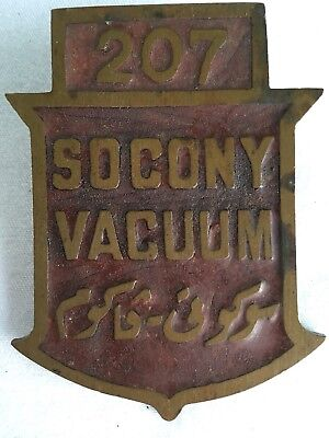 Vintage Socony Vacuum Mobile Oil Brass Buckle Badge Pin Arabic Rare #207