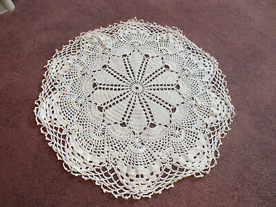 "Beautiful Handmade Crocheted Doily Table Linen White 18"" WOW"