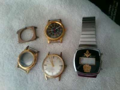 Lot Of Vintage Watches Parts Repair Wear, Military Style, Masonic Digital, Etc.