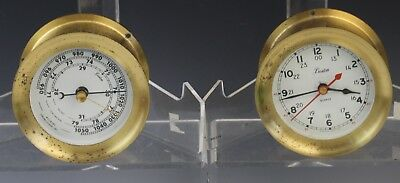 Vintage Boston Chelsea Brass Wall Mount Clock & Barometer 1983