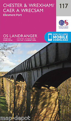 CHESTER & WREXHAM LANDRANGER MAP 117 - Ordnance Survey - OS  NEW 2016 + DOWNLOAD